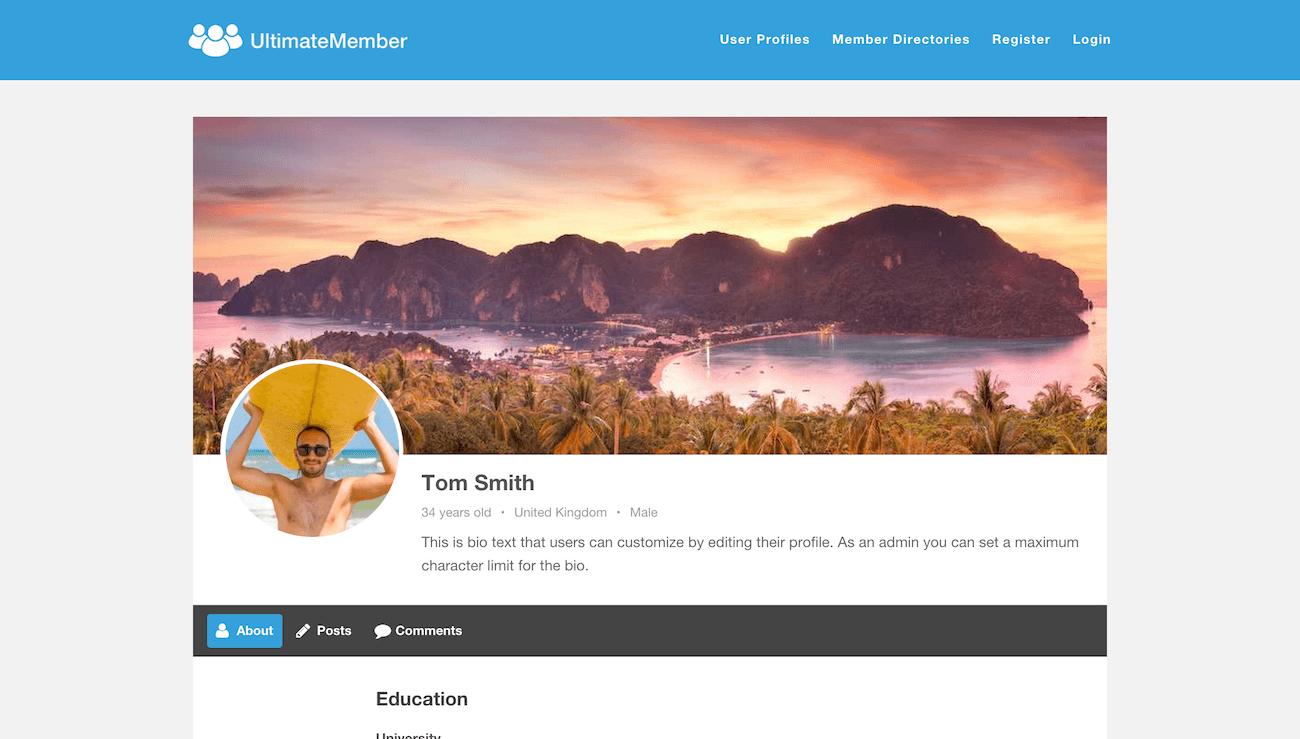ultimate member user profile