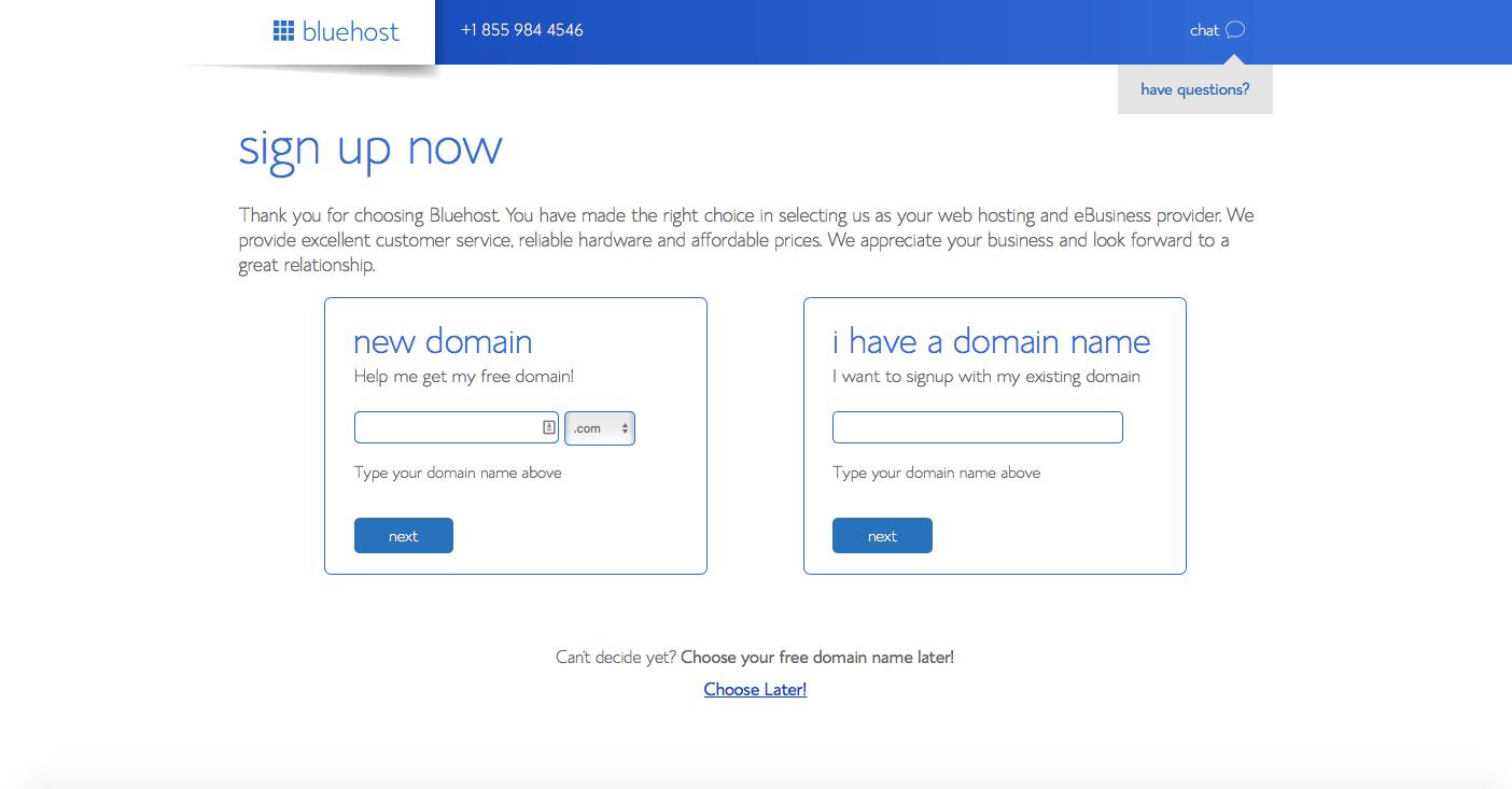 choosing a domain at bluehost