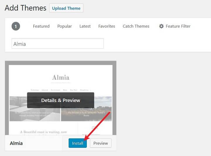 install new theme in wordpress admin