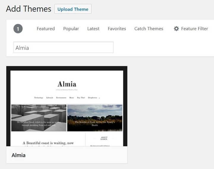 search almia wordpress theme