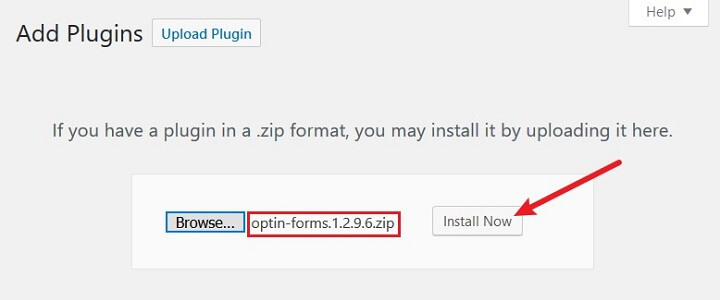 upload zip file of plugin