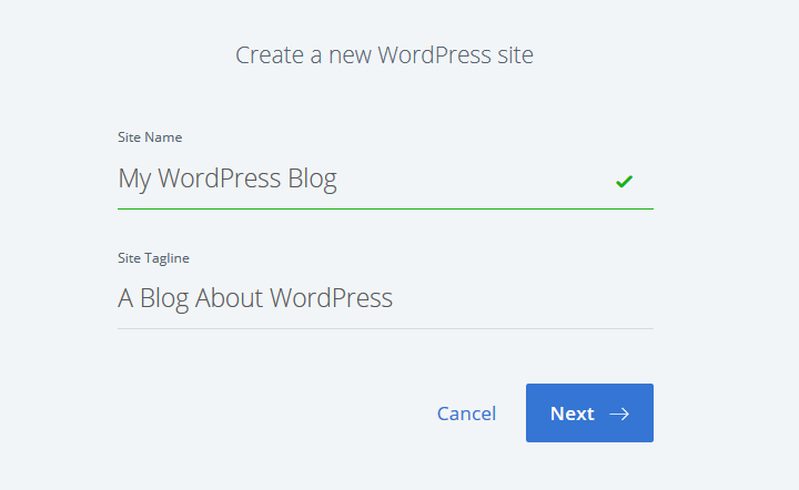 create a new wordpress site
