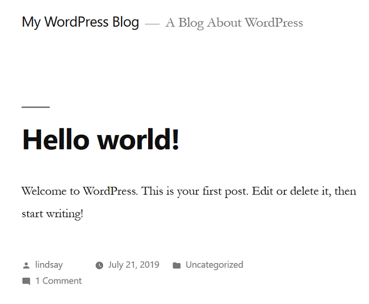 plain wordpress blog