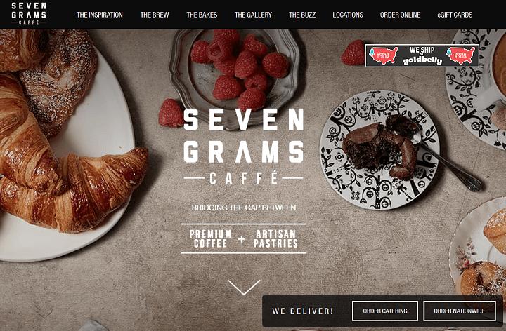 seven grams caffe - restaurant wix website examples