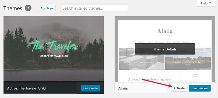 activate new theme in wordpress