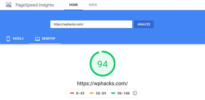 pagespeed insights speed test