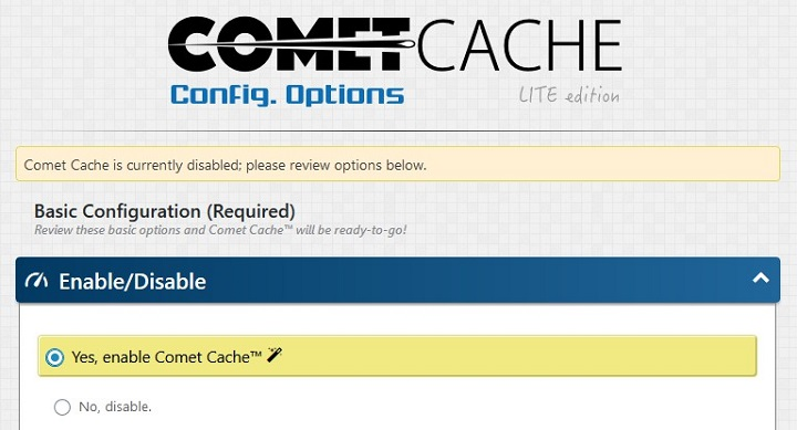 comet cache settings