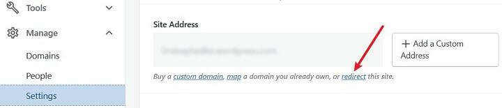 site redirect