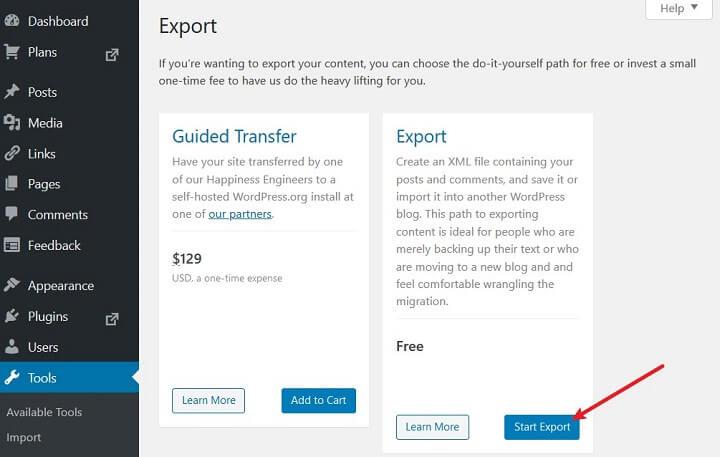 start export in wordpress.com