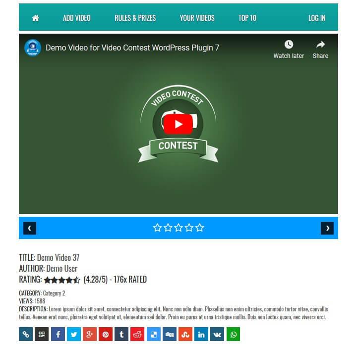 video contest wordpress plugin example