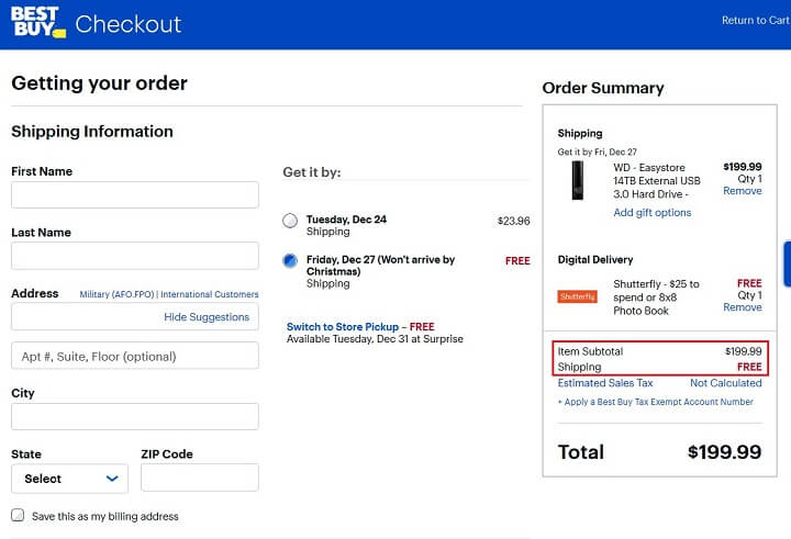 best buy - free shipping option