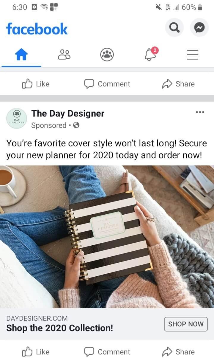 day designer - retargeted ad example