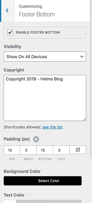 footer bottom copyright section