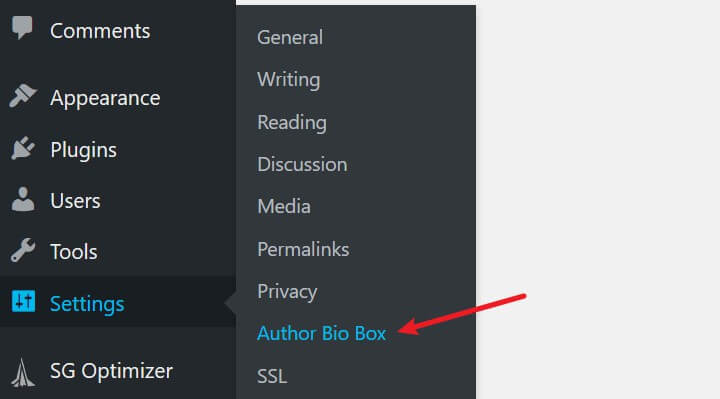 author bio box settings