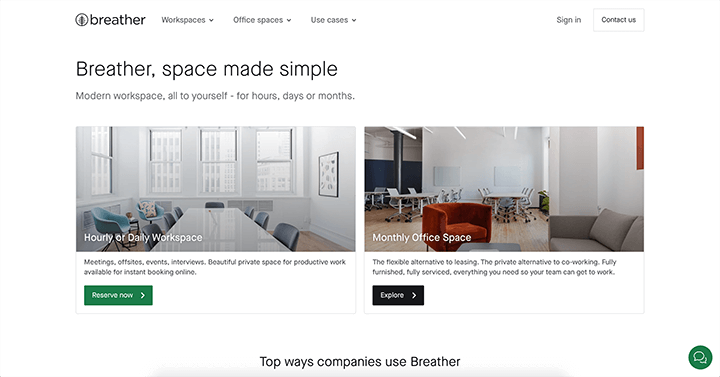 breather simple landing page