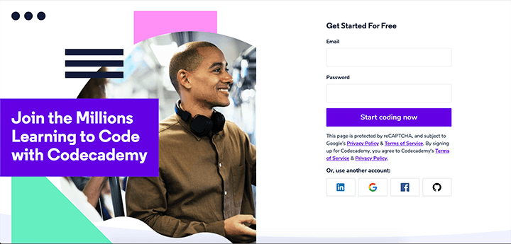 code academy landing page example