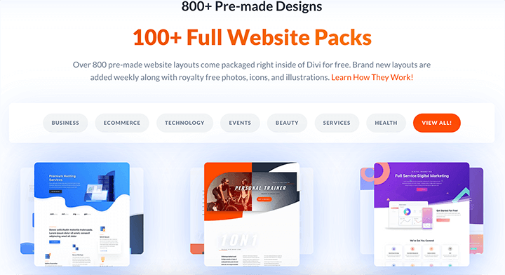 Divi Website Packs