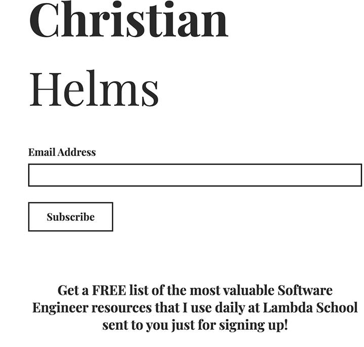 basic landing page example