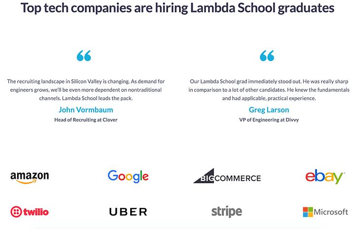 Lambda School social proof