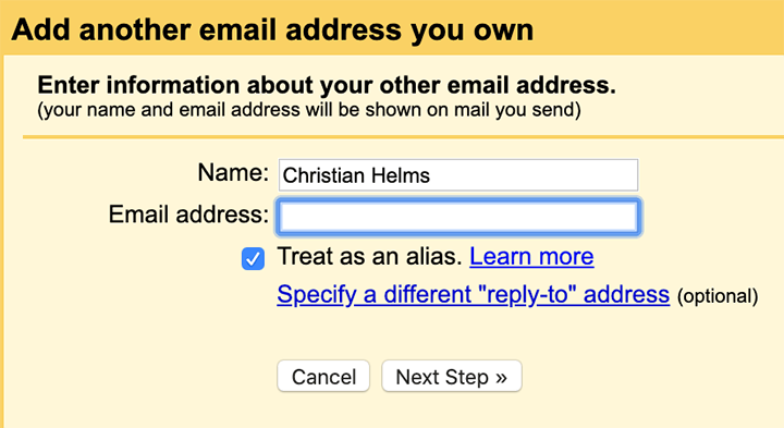 Add another email address you own to your account