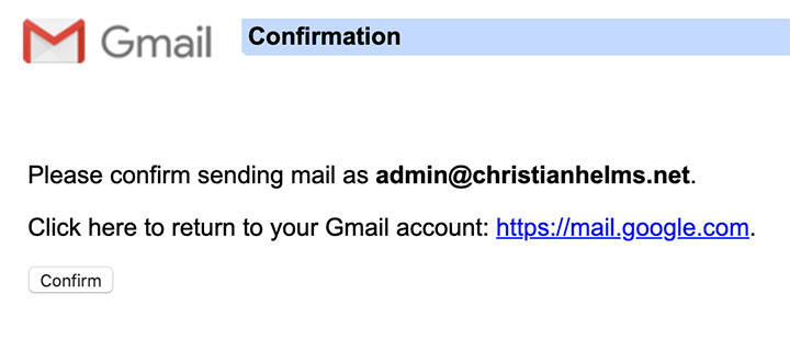 confirm your domain email account