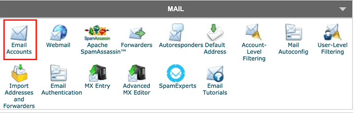 email accounts in the cPanel