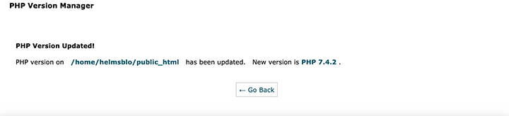 PHP version updated