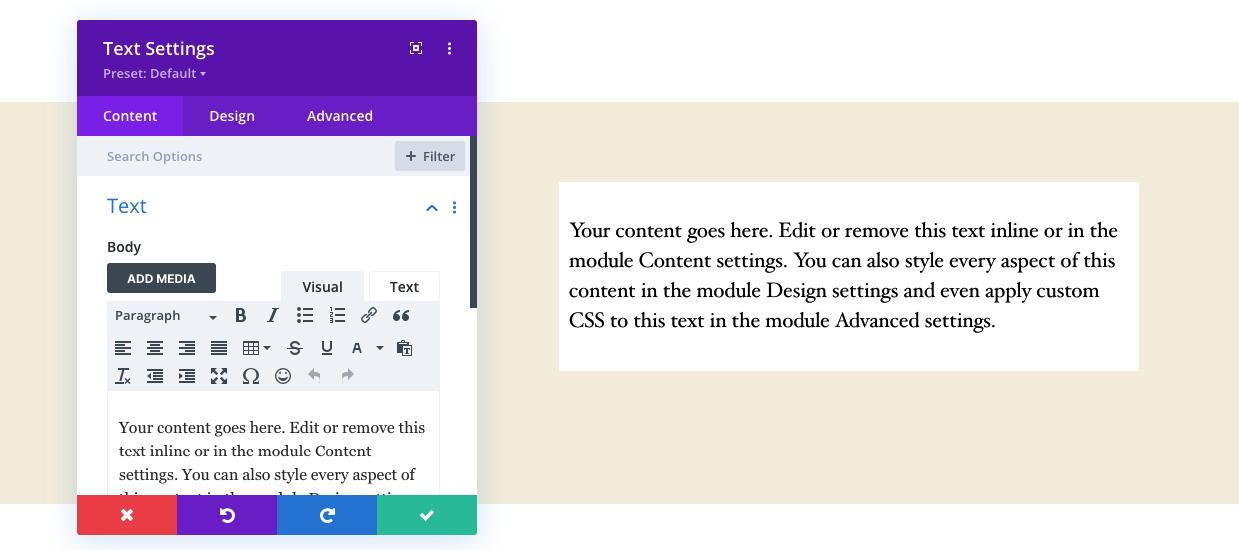 Divi vs Elementor: Divi text controls