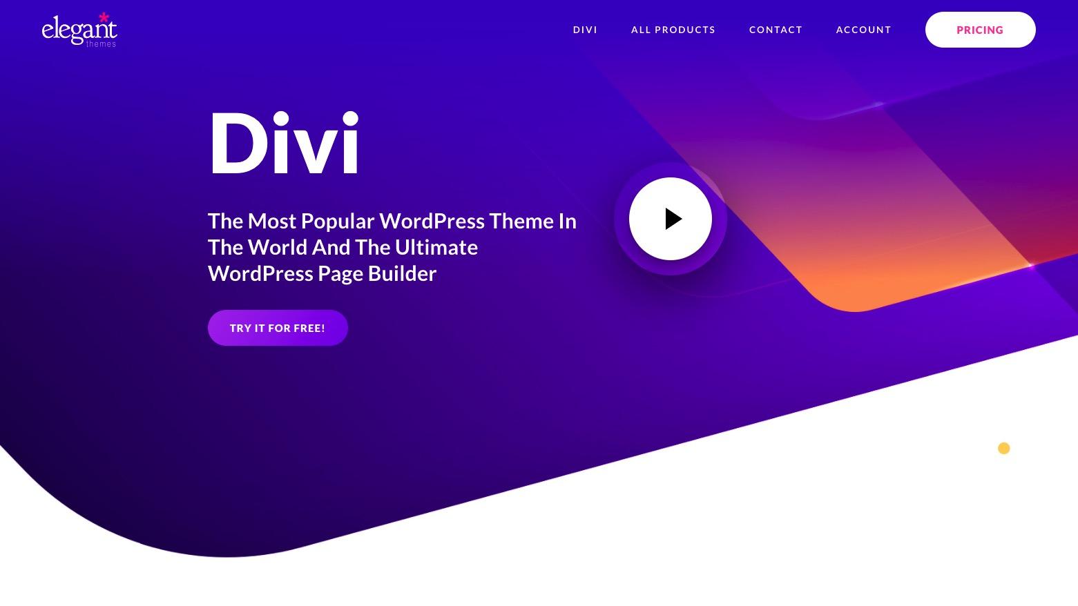 Divi vs Elementor: Divi homepage